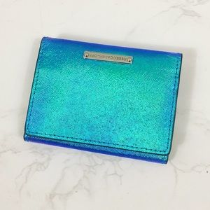 Rebecca Minkoff holographic trifold mini wallet